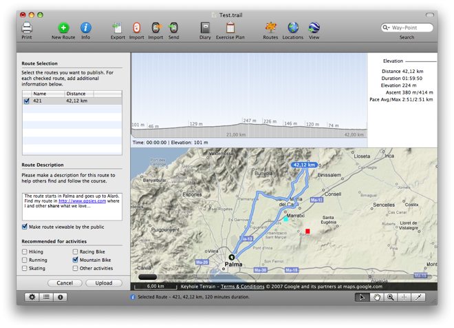 Gpsies Karte.Trailrunner Mac Os X Route Planning And Training Software For