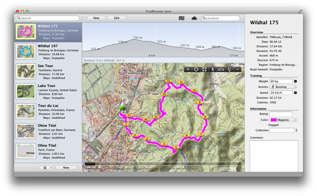 TrailRunner - Mac OS X route planning and training software