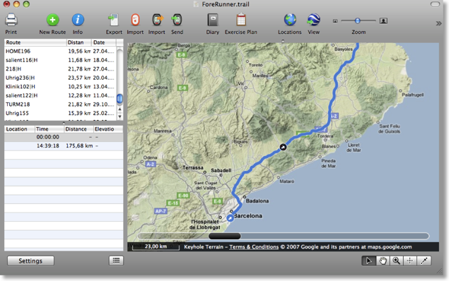 TrailRunner - Mac OS X route planning and training software for